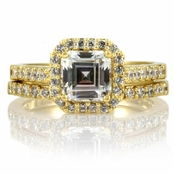 Devon's 1.5 CT Asscher Cut CZ Wedding Ring Set - Gold