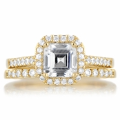 Devon's 1.5 CT Asscher Cut CZ Wedding Ring Set - Gold Tone
