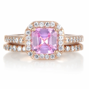 Devon's Pink Asscher Cut CZ Wedding Ring Set - Rose Goldtone