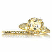 Devon's Gold CZ Wedding Ring Set - Faux Canary
