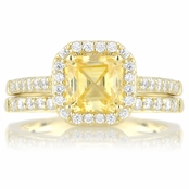 Devon's Gold Tone CZ Wedding Ring Set - Simulated Canary