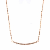 Diana's Rose Gold Single Row Pave CZ Curved Bar Necklace