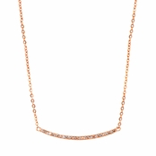 Diana's Rose Goldtone Single Row Pave CZ Curved Bar Necklace