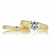 Dianna's Goldtone Pave CZ Wedding Ring Set