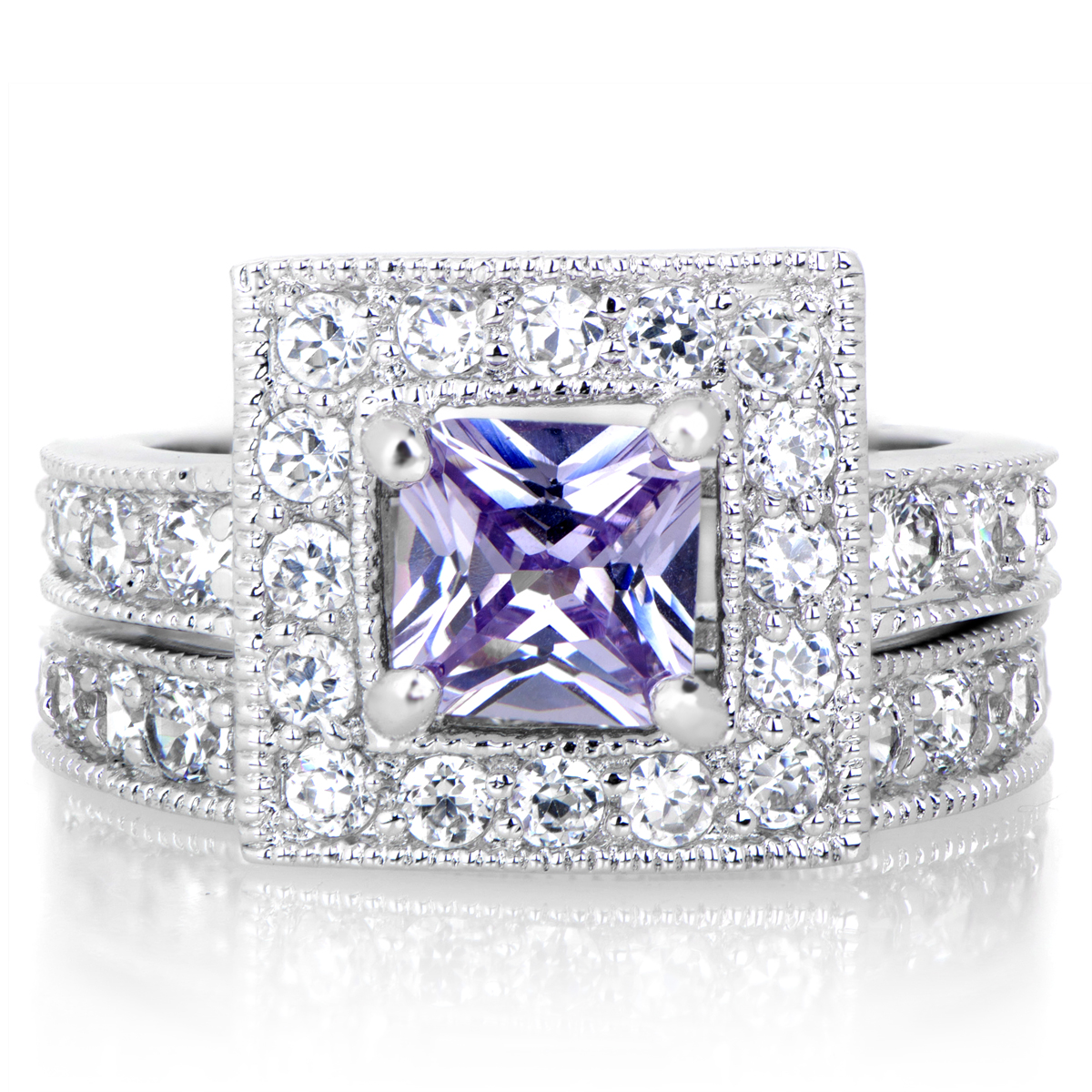 diona s princess cut purple cz wedding ring set