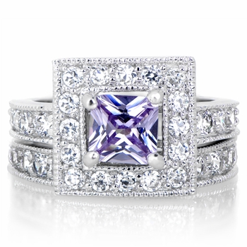 Diona's Princess Cut Lavender CZ Wedding Ring Set