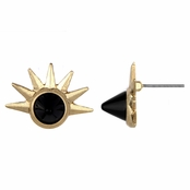 Dita's Goldtone and Black Stone Sunburst Stud Earrings