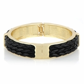Dolly's Black Leather Braided Bangle Bracelet