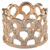 Dolly's Rose Gold Plated Cubic Zirconia Crown Fancy Band Ring