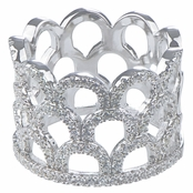 Dolly's Silver Plated Cubic Zirconia Crown Fancy Band Ring