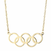 Olympics Jewelry: Goldtone 5 Circle Charm Necklace - 18K Plated