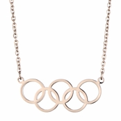 Olympics Jewelry: Rose Gold 5 Circle Charm Necklace - 18K Plated