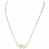 Olympics Jewelry: Rose Goldtone 5 Circle Charm Necklace - 18K Plated