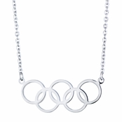 Olympics Jewelry: Silver 5 Circle Charm Necklace - 18K Plated