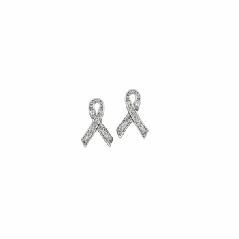 Donna's Silvertone Breast Cancer Awareness Ribbon Earrings