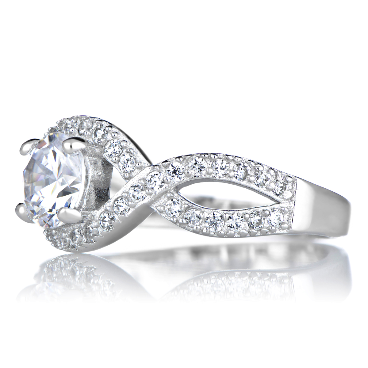Dorothea s Round Cut Twisted Band CZ Engagement Ring