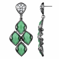 Drita's Gunmetal Chandelier Earrings - Green