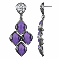 Drita's Gunmetal Chandelier Earrings - Purple