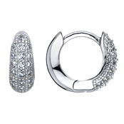 Dyna's Silvertone Petite CZ Hoop Earrings - 13mm