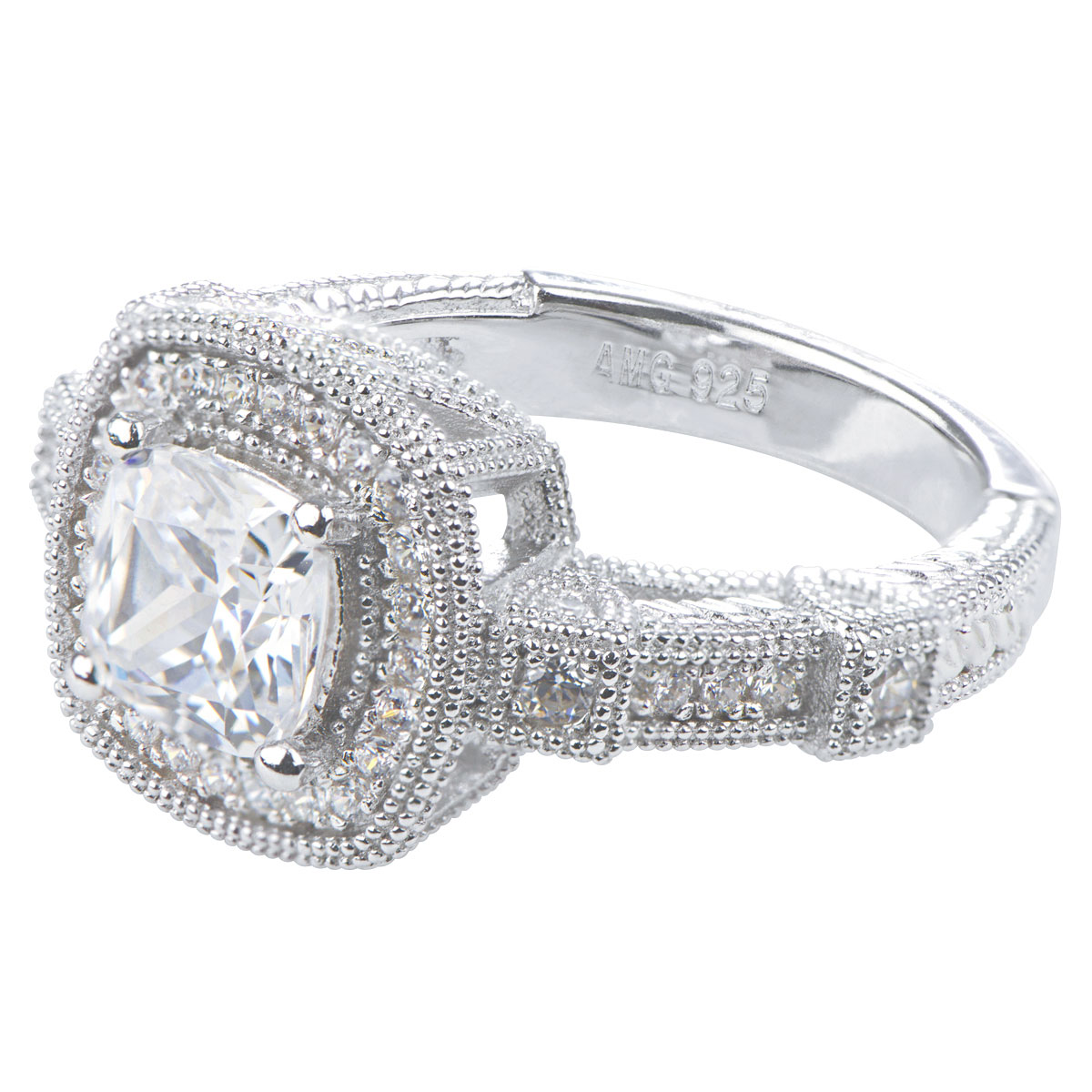 s cushion cut micro pave deco engagement ring
