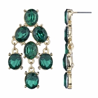 Edona's Faux Emerald Fancy Chandelier Earrings