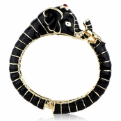 Effie's Black Goldtone Elephant Bangle Bracelet