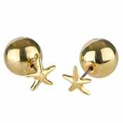 Eleanor's Goldtone Star Front Back Stud Earrings