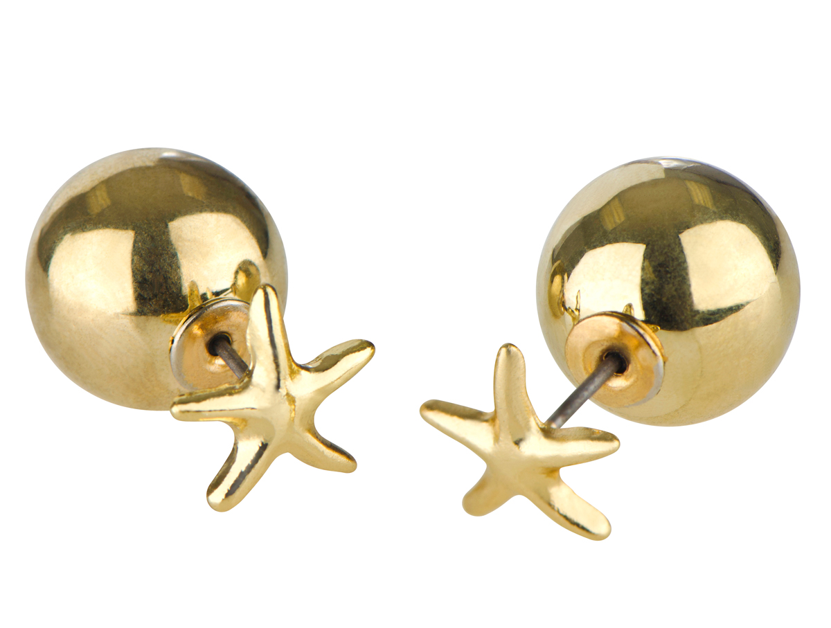 eleanor s goldtone front back stud earrings