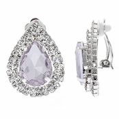 Elena's Purple CZ Pear Jewel Clip On Earrings