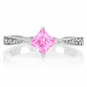 Elisa's Promise Ring - Pink Princess Cut CZ