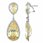 Canary CZ Pear Drop Dangle Earrings