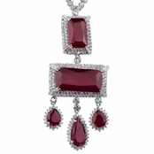 Elizabeth's Estate Jewellery Collection: Fancy Simulated Ruby Necklace - Emerald and Pear Cut