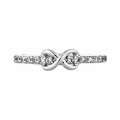 Elle's CZ Infinity Charm Petite Stackable Ring Band