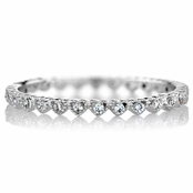 Elle's Petite CZ Heart Eternity Stackable Ring Band