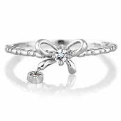 Elle's Silvertone Bow Charm with Heart Petite Stackable Ring Band