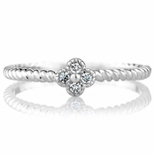 Elle's Twisted Silvertone Flower Charm Petite Stackable Ring Band