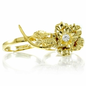 Elle's Goldtone Two Finger Flower Ring