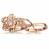 Elle's Rose Goldtone Two Finger Flower Ring