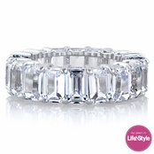 Ellie's Silvertone Emerald Step Cut CZ Eternity Ring
