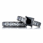 Ellyn's Black Wedding Ring Set - Simulated Diamond