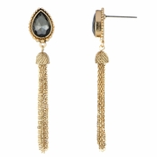 Elora's Goldtone Pear Cut Tassle Dangle Earrings - Grey