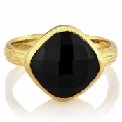Emani's Cushion Cut Onyx Gold Cocktail Ring