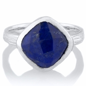 Emani's Cushion Cut Simulated Blue Lapis Silver Tone Cocktail Ring