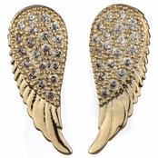 Emannuelle's Gold Cubic Zirconia Angel Wing Stud Earrings