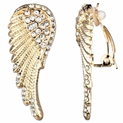 Emilia's Gold Rhinestone Angel Wing Clip On Earrings
