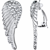Emilia's Silver Rhinestone Angel Wing Clip On Earrings