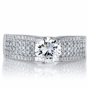 Emiliya's 5 Row CZ and Sterling Silver Engagement Ring