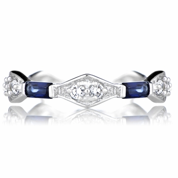 Emmalyn's Antique Style Blue CZ Eternity Band