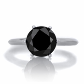 Enya's 1.5ct Sterling Silver Simulated Round Black Diamond Engagement Ring