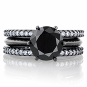 Enya's Black CZ Simulated Diamond Triple Row Wedding Ring Set